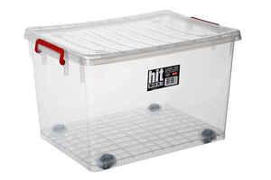 Bora Plastik - Bora BO277 Saklama Kabı Tekerlekli 50 Litre Şeffaf